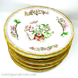 1900 Antique Chinoiserie 11 Plates Flower Pot Pattern, Sold Separately