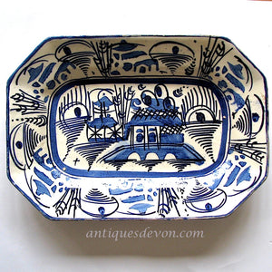 19th c. Chinese Export Blue & White Antique Canton Pottery Platter