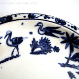 1870's Victorian Aesthetic Flow Blue Birds Ironstone Tea Tray Stand