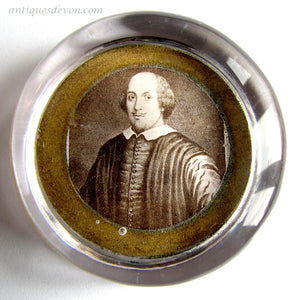 c. 1900 Antique Victorian William Shakespeare Glass Paperweight