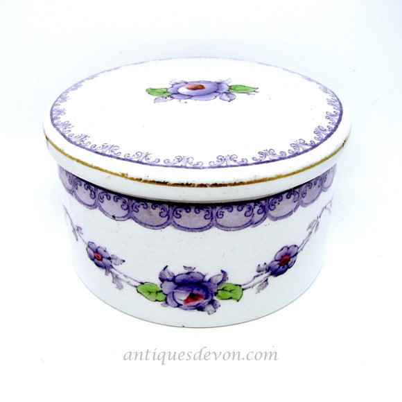 1915 Keeling Co. Losol Ware Lavender Purple Lidded Pot or Dresser Box