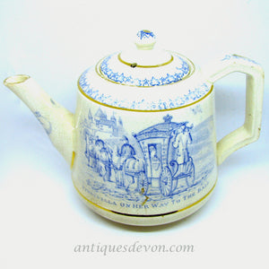 1820 Child's Cinderella Staffordshire Transferware Blue & White Teapot