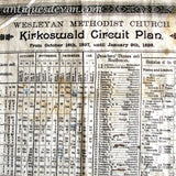 1897 Antique Kirkoswald Parish England, Wesleyan Church Linen Poster