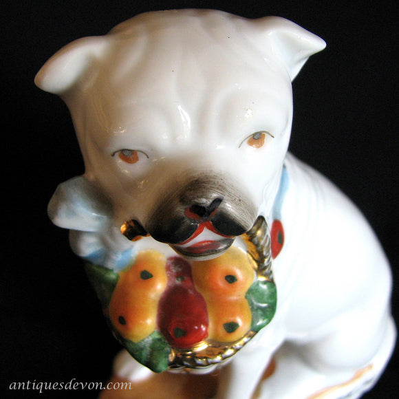 1890's Antique Staffordshire Bull Terrier German Porcelain Dog Figure
