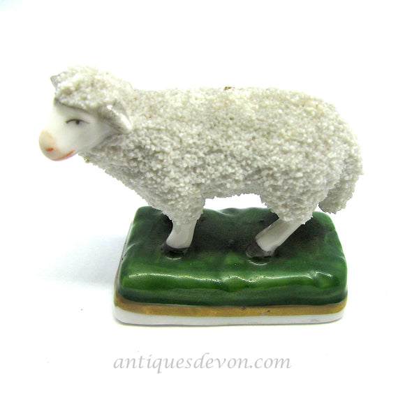 1840's Antique Miniature Staffordshire Sheep on Rectangular Green Base