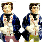 1860's English Victorian Staffordshire Figures, 2 Portly Pepperpot Men