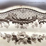 "1820 Thomas Fell ""Antiquarian"" Deer & Ruins Brown Transferware Platter"