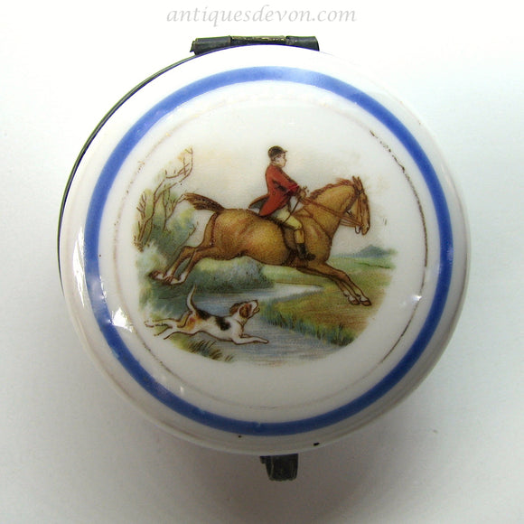 1890's Fox Hunter & Dog Transferware Porcelain Patch Box, Snuff Box