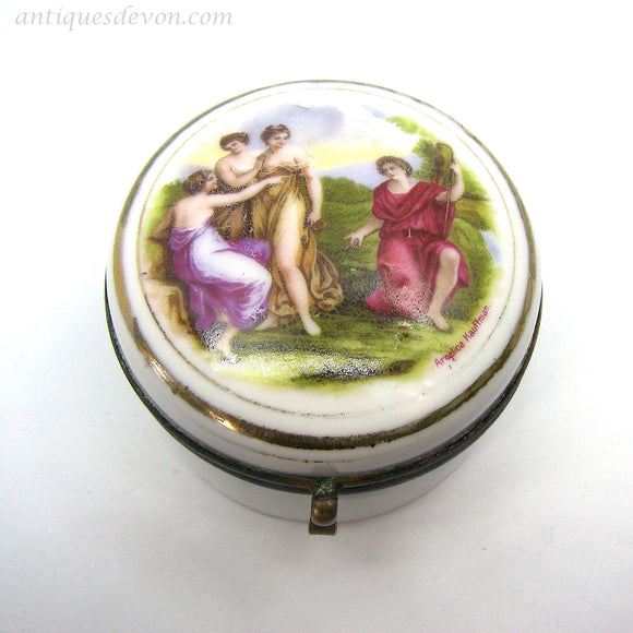 1890's Angelica Kauffmann Transferware Porcelain Patch Box, Snuff Box