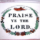 "1860s ""Praise Ye the Lord"" Sunderland Pink Lustreware Religious Plaque"