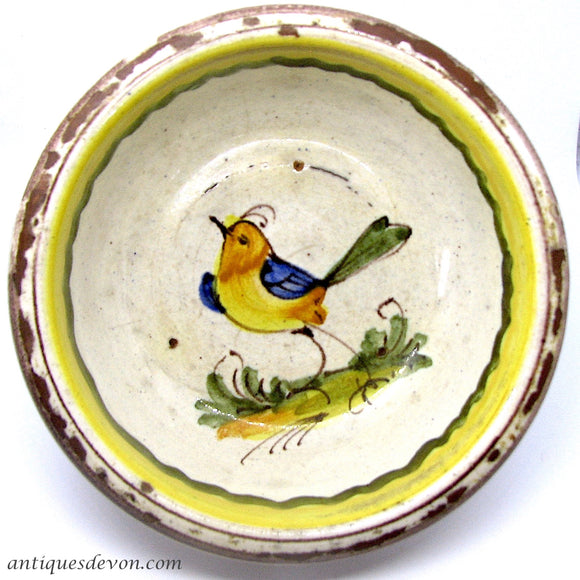 1880's Antique French Country Redware Faience Yellow Bird Pottery Bowl