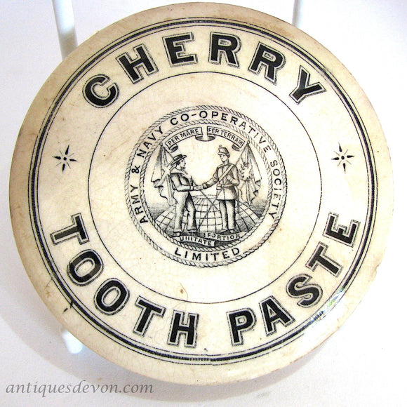 1880 Antique Army & Navy Cooperative Society Cherry Toothpaste Pot Lid