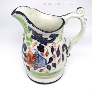 1840's Antique Gaudy Welsh Jug, Flower Basket Pattern & Scroll Handle