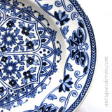 1870's Antique Booths TGB Indian Ornament Pattern Blue & White Platter