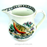 1830's Antique Ironstone English Robin Transferware Jug or Pitcher