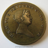1817 Princess Charlotte Original Antique Brass Mourning Death Token