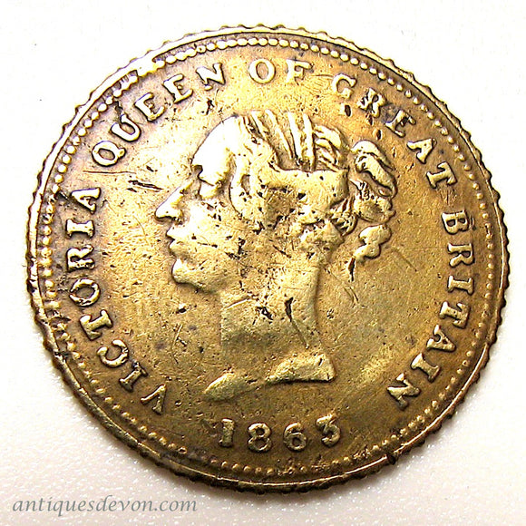 1863 Queen Victoria Brass Model Half Sovereign Coin Medal Gaming Token