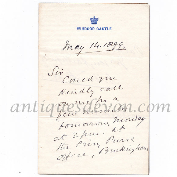 1899 Queen Victoria Secretary Arthur Bigge Signed Letter Windsor Castle