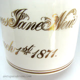 1871 Frances Jane New Antique Victorian Staffordshire Christening Mug