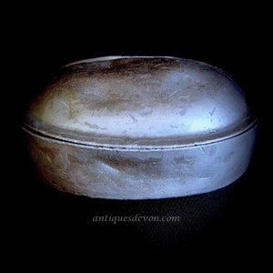 19th c. Antique Ovoid Hinged Pewter Snuff or Tobacco Box