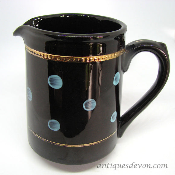 1940-50's Black Ascot Jug by Alcock Lindley & Bloore, Blue Polka Dots