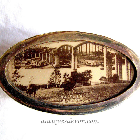 1900 Antique Isambard Brunel Royal Albert Bridge Celluloid Snuff Box