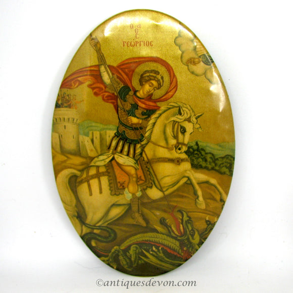 1930 Antique St. George, Dragon Celluloid Religious Greek Medal Plaque