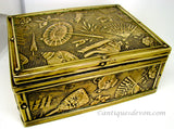 c 1900 Antique Victorian English Brass & Wood Embossed Chinoiserie Box