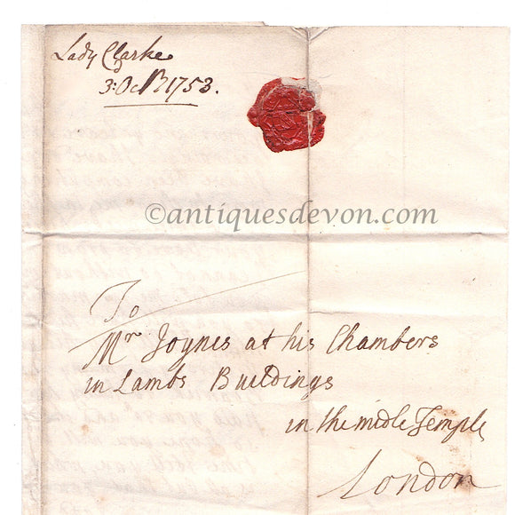 1753 Lady Mary Clarke, Windsor Castle letter to Attorney Samuel Joynes