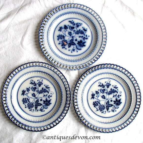 1880 Waechtersbach Flow Blue German Basket Weave Antique Ribbon Plates