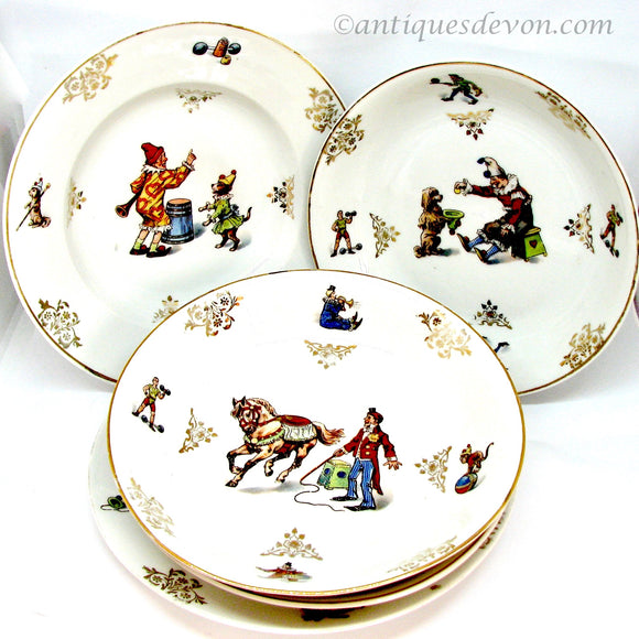 1890's Heinrich H & Co. German Child's Porcelain Circus Dinnerware Set