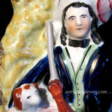 1860'S Staffordshire Figure Hunter With Dog Spill Vase Flatback