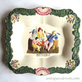 1880's Smugglers Antique Staffordshire Pottery Figure Plate or Plaque