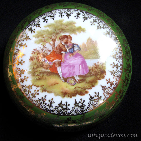 1950-70's Limoges France Fragonard Lovers Large Trinket Dresser Box