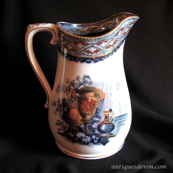 1870's Antique Flow Blue Etruscan Urn / Aesthetic Era Ironstone Jug