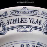 1887 Antique Blue Queen Victoria Worcester Porcelain Jubilee Plate