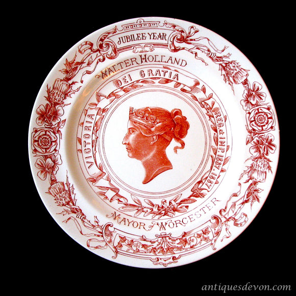1887 Red Queen Victoria Worcester Jubilee Plate: Walter Holland Mayor
