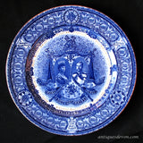 1911 Royal Doulton Flow Blue George V & Queen Mary Coronation Plate
