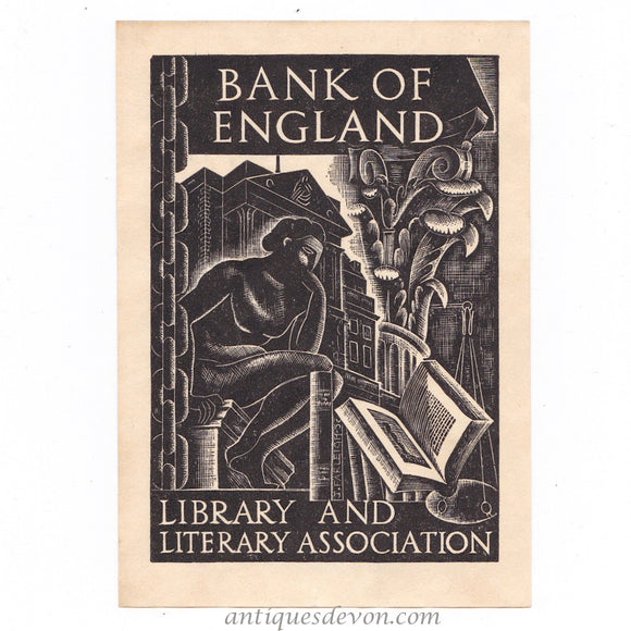 1932 John Farleigh Bank of England Bookplate Book Plate Ex Libris