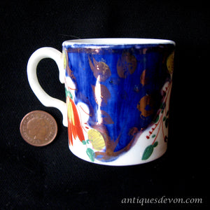 1840's Tiny Antique Gaudy Welsh Child's Cup, Mug or Coffee Can