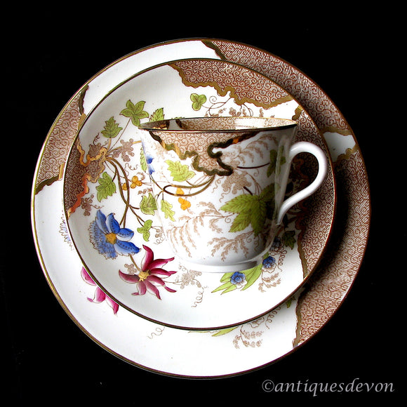 1860-80's Chinoiserie Porcelain 3 Piece Cup Saucer Plate Gilded Set