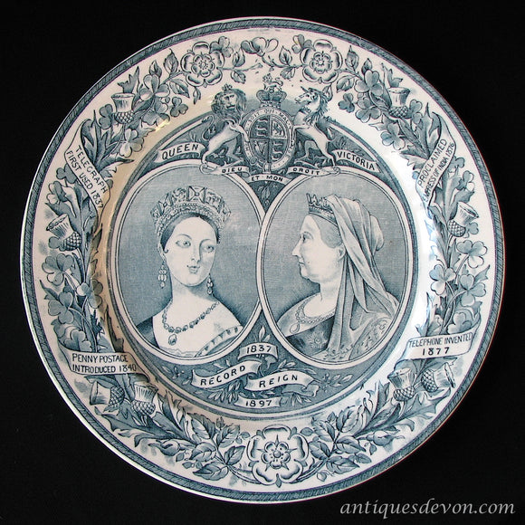 1897 Queen Victoria Record Reign Plate, by Wagstaff & Brunt, Longton