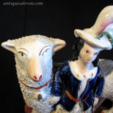1860's Pair of Staffordshire Figures of Scottish Children Large Sheep