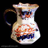 "1894 Antique Signed Masons ""Water Lily"" Hydra Jug w/ Cobalt Handle"