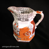 "c. 1820-1840's Antique Masons Orange & Black ""Pekin Japan"" Pattern Jug"