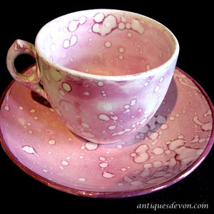 1830's Antique Sunderland Pink Splash Lustreware English Cup & Saucer