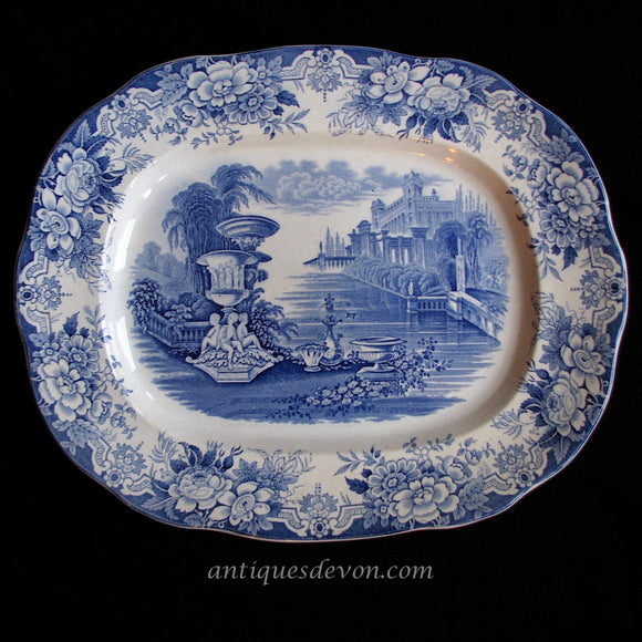1830 Blue, White Staffordshire Transferware Classical Fountain Platter