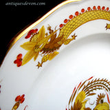 "c. 1900 Antique Meissen Marked 10"" Yellow Dragon Red Dot Accent Plate"