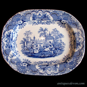 "1830s ""Spanish Beauties"" Deakin & Sons Transferware Blue White Platter"
