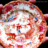 1820 2 Clobbered Red Hilditch Chinese Falconer Falconry Child's Plates